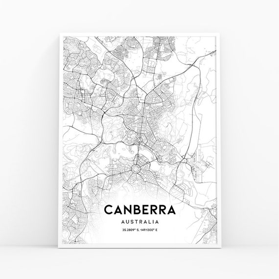 Road Map Of Australia.Canberra Map Print Australia Map Art Poster City Street Road Map Print Nursery Room Wall Office Decor Printable Map 153w