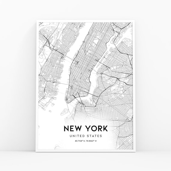 New York Map Print, Manhattan, NYC Map, Manhattan Map Poster, NYC, NY Map,  United States Map Print, New York City, Black and White Map 001W