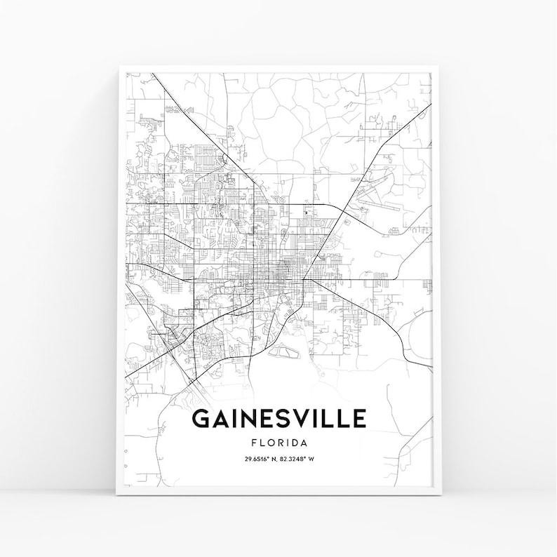 Gainesville Map Print, Florida FL USA Map Art Poster, City Street Road Map  Print, Nursery Room Wall Office Decor, Printable Map, 339W