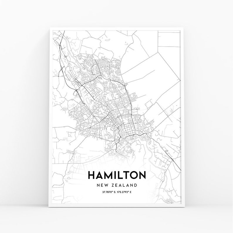 Hamilton New Zealand Map.Hamilton Map Print New Zealand Map Art Poster City Street Etsy