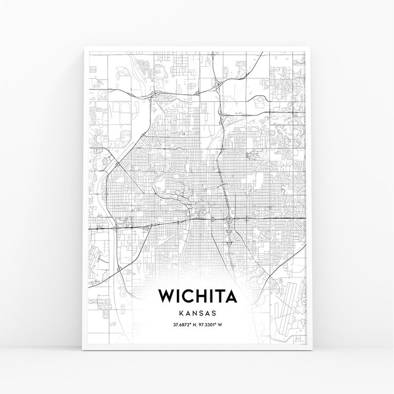 Wichita Map Print, Kansas KS USA Map Art Poster, City Street Road Map on km road map, bc british columbia road map, md road map, atlas road map, idaho road map, nebraska road map, kansas county map, topeka road map, kansas city road map, small kansas town map, kc road map, oklahoma road map, mo road map, indiana road map, current road conditions kansas map, lawrence kansas road map, wichita road map, kentucky road map, co road map, kansas driving map,