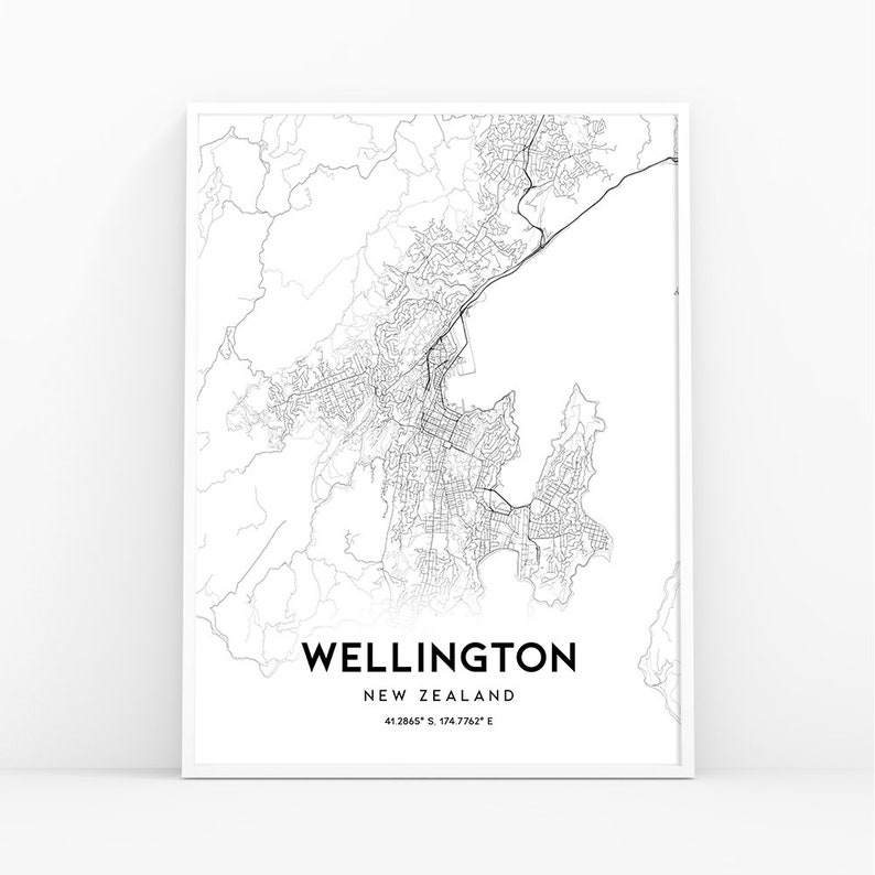 New Zealand Wellington Map.Wellington Map Print New Zealand Map Art Poster City Street Road Map Print Nursery Room Wall Office Decor Printable Map 165w