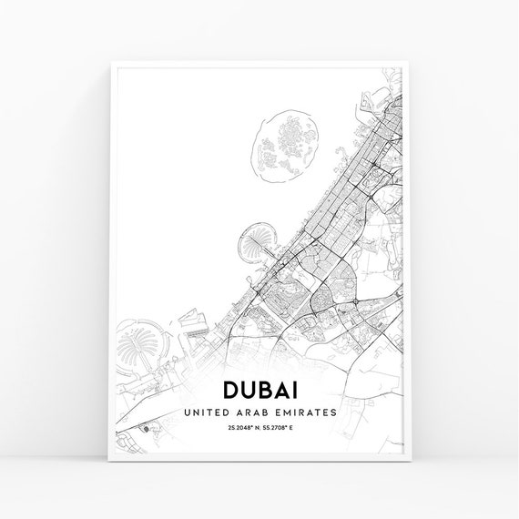 Dubai Map Print, United Arab Emirates UAE Map Art Poster, City Street Road  Map Print, Nursery Room Wall Office Decor, Printable Map 315W