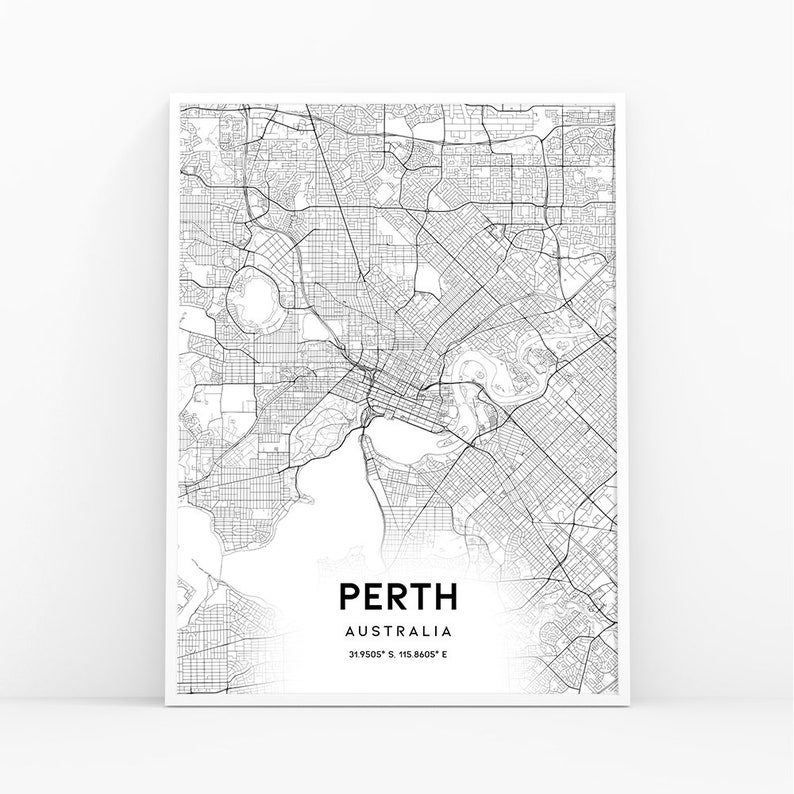 picture relating to Printable Map of Australia identify Perth Map Print, Australia Map Artwork Poster, Metropolis Highway Highway Map Print, Nursery Place Wall Office environment Decor, Printable Map, 147W