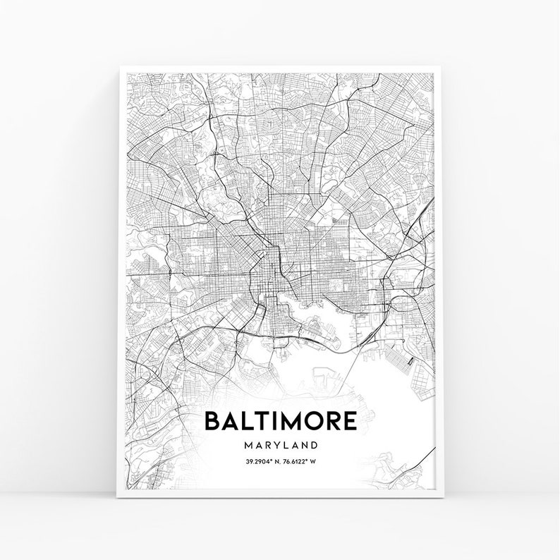 Baltimore Map Print, Maryland MD USA Map Art Poster, City Street Road Map  Print, Nursery Room Wall Office Decor, Printable Map, 039W