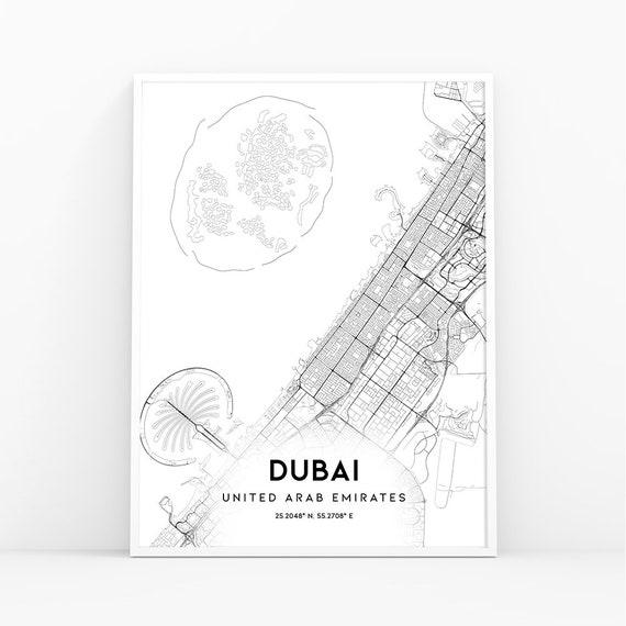 Dubai Map Print, United Arab Emirates UAE Map Art Poster, City Street Road  Map Print, Nursery Room Wall Office Decor, Printable Map 316W