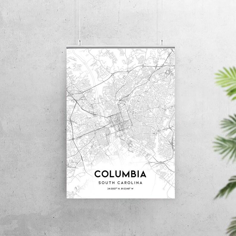 Columbia carte impression Caroline du Sud SC USA carte   Etsy
