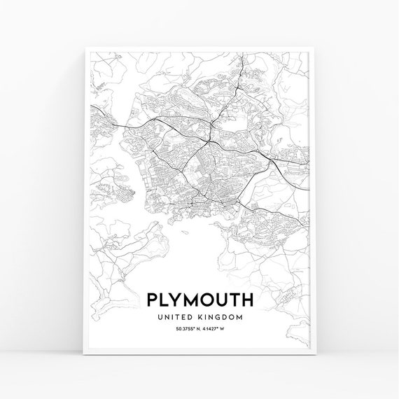Plymouth Map Print England United Kingdom Uk Map Art Poster Etsy