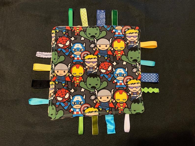 Custom design baby taggie blanket!