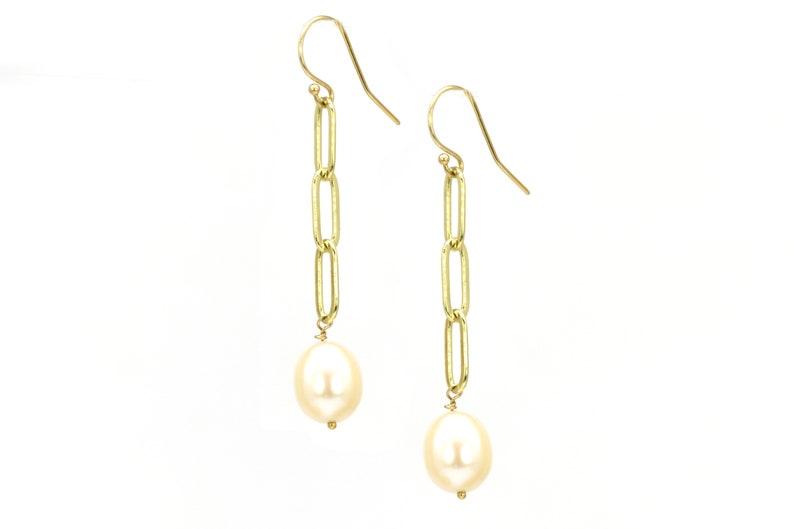Pearl drop on Paper clip chain earring gold filled pearl earring Silver pearl earring freshwater pearl girlfriend gift Pearl earrings