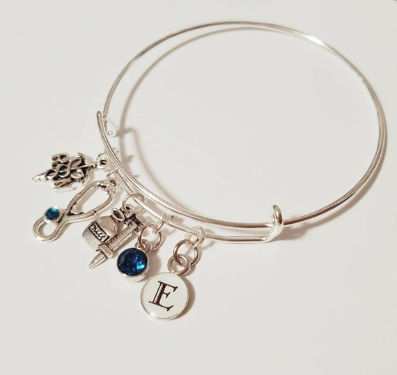MD Godmother You Are Loved Circle Bracelet Silvertone Caduceus 8