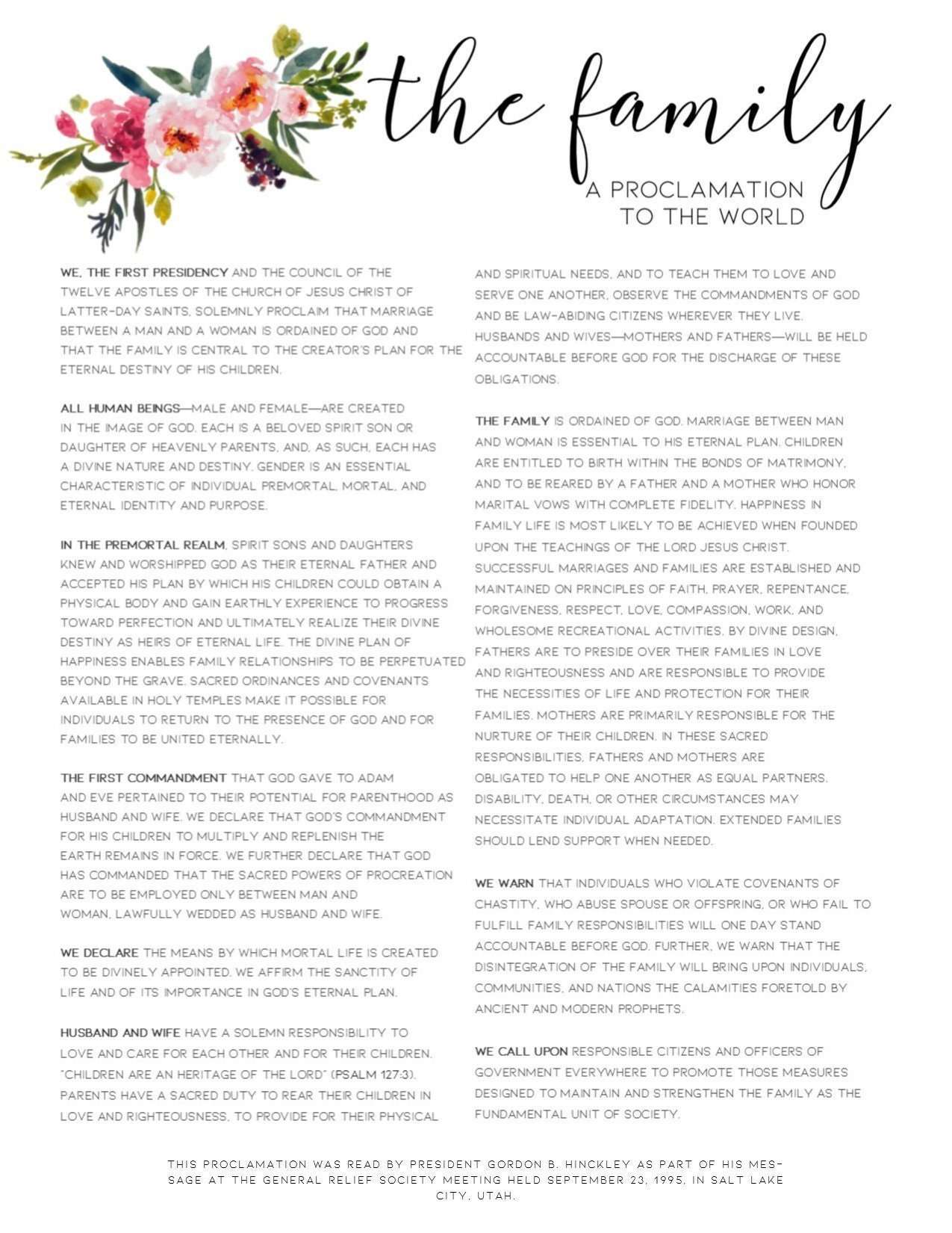 Family Proclamation Floral Printable Art, under 10 dollars