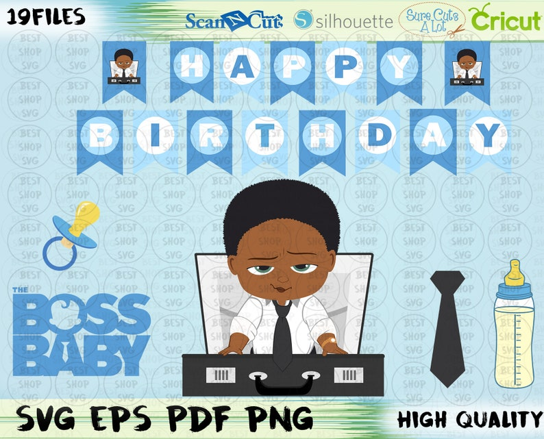 Baby Boss SVG Boy African American Afro PNG PDF