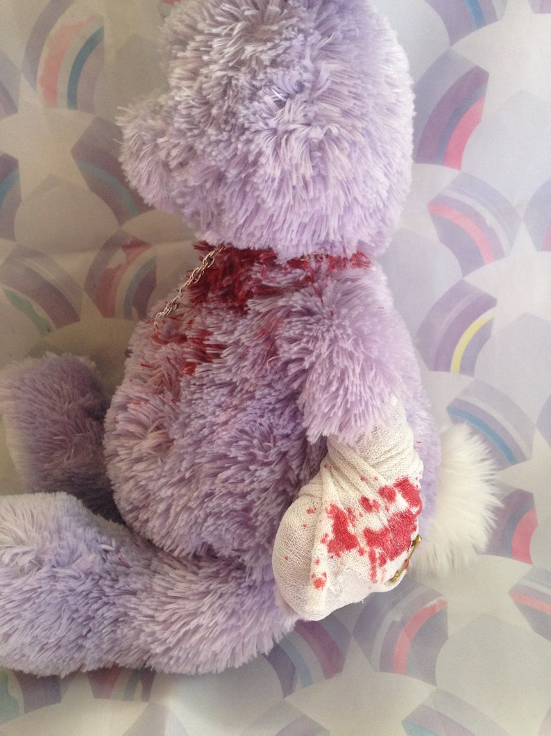 pastel bloody stuffed bunny