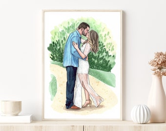 Best gift for beloved. Wedding Anniversary gift. Custom family portrait. Couple portrait. Watercolor portrait. Custom couple illustration