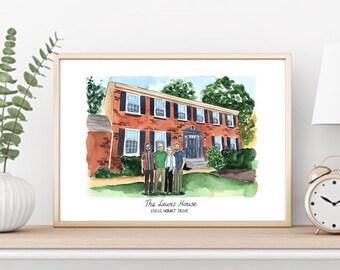 Family House Portrait. DIGITAL COPY of ORIGINAL drawing for self printing. Custom portrait - House and Family. Custom family portrait.