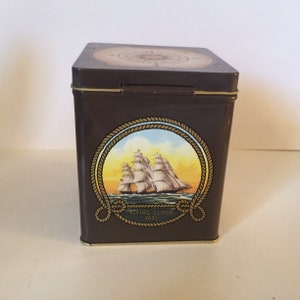 J candy gold small decorative tea TIN Clark Co L brown vintage