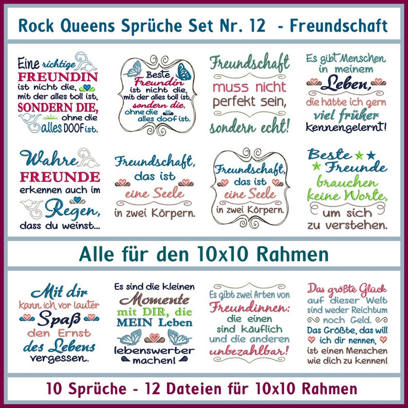 Embroidery File Rock Queens Sayings Set 12 Friendship 10x10 Embroidery File