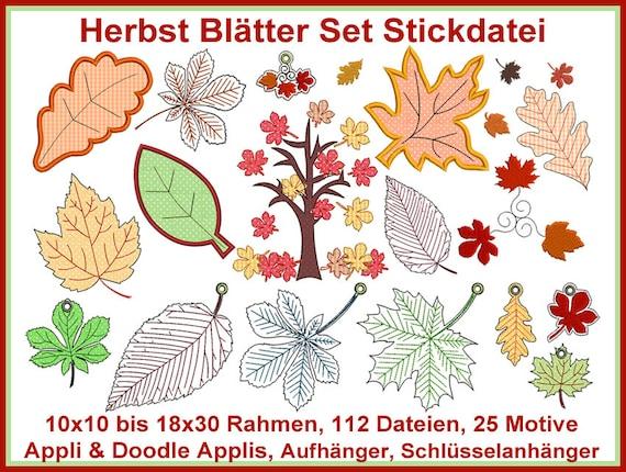 Stickdatei Herbst Blätter Set Stickmuster | Etsy