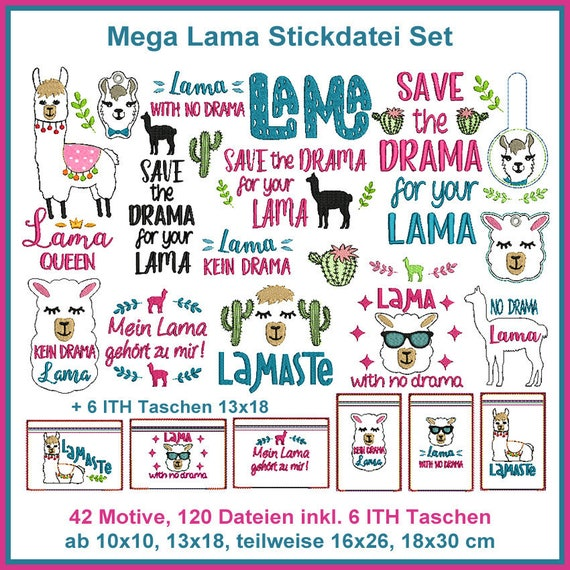 Stickdatei Lama Mega Set Stickmuster | Etsy