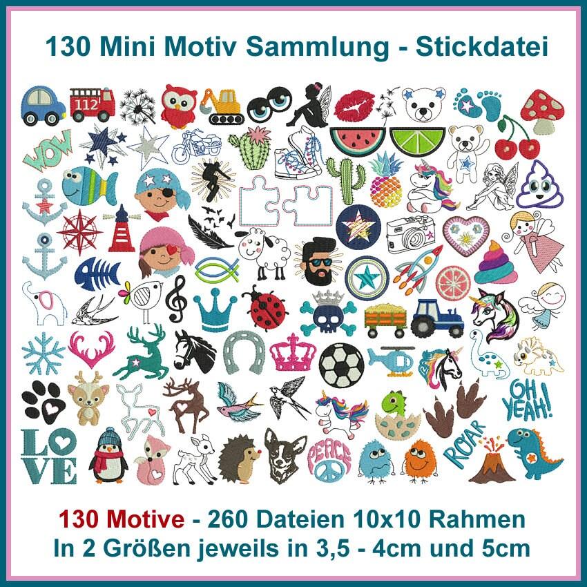 Stickdatei Mini Motiv Sammlung Stickmuster   Etsy