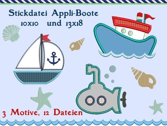 Segelboot applikation  Stickdatei Stickmuster Boot Segelboot Applikation | Etsy