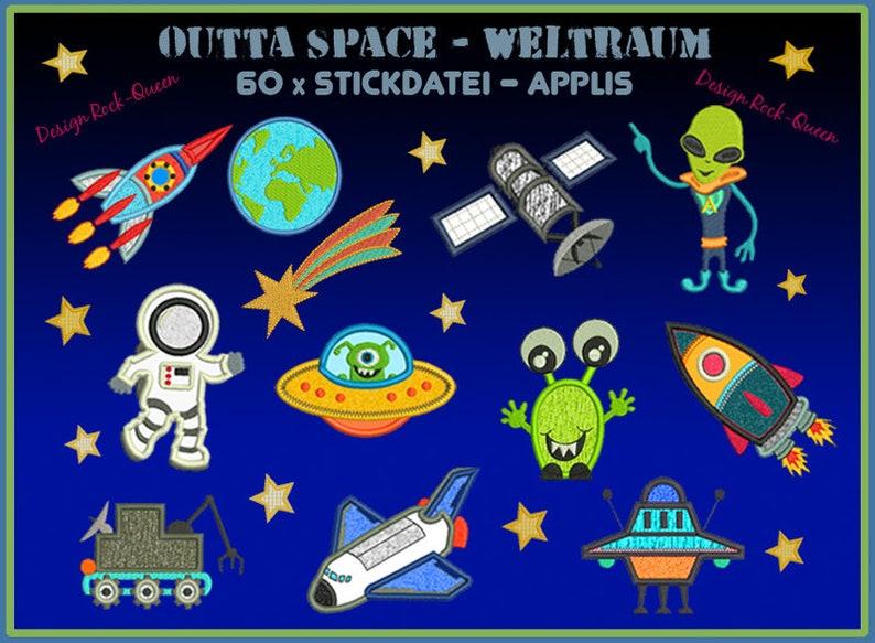 Stickdatei Weltall Weltraum Astronauten Giga Set Erde image 0