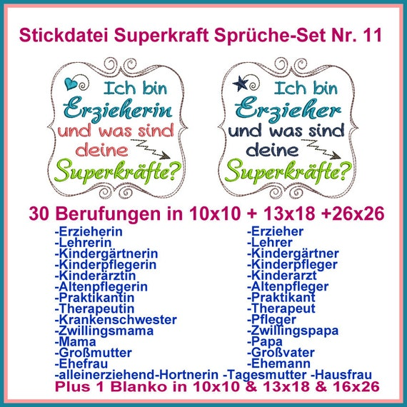 Stickdatei Superkraft Sprüche Set Nr 11 Stickmuster Ab 10x10 Rahmen Beliebtesten Berufungen Berufen Rockqueenembroidery