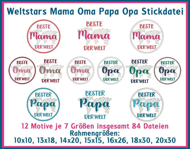 Stickdatei Weltstars Mama Oma Papa Opa Sprüche Nr 32 Etsy