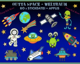 Stickdateien Weltall Weltraum Astronauten Giga Set Erde Raumschiff Planeten Aliens Raketen Space Stern embroidery Files RockQueenEmbroidery