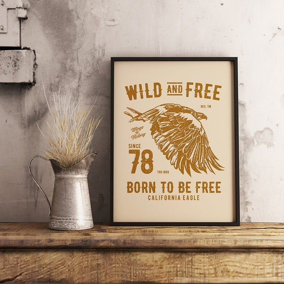 Wild And Free Svg Sayings Caliornia Eagle Svg Image For Tote Etsy
