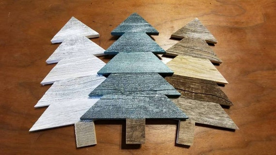 Small 11x8 Wood Christmas Tree Decor Rustic Reclaimed Wood Tree Holiday Decor Wall Hanging Christmas Centerpiece Kid S Craft Project