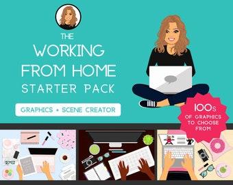 Working from Home Starter Pack   Graphics  Female   Girl   Logo Design   Feminine Scene Creator   Blog   Desk   Website   Business Card