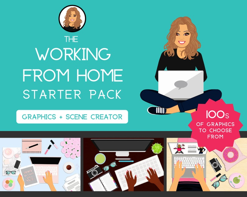 Working from Home Starter Pack  Graphics Female  Girl  image 0