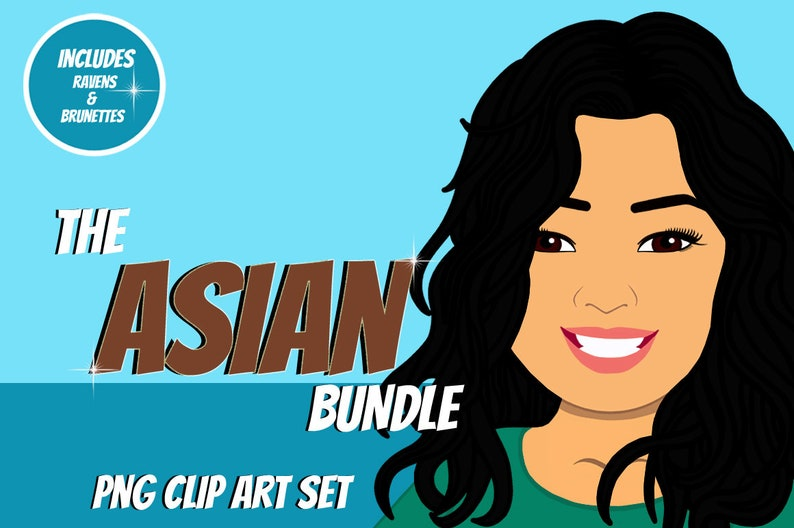 Asian Woman Clip Art Bundle  Character Design Avatar  Woman image 1