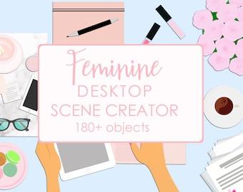 Feminine Desktop Scene Creator   Clip Art Graphics with Movable Objects, Styled Scene Generator, FlatLay Mockup Creator, Top View, Generator