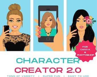 Character Creator 2.0   Avatar Maker   DYI Portrait Creator   Girls Clip Art   Illustration   Female   Graphics