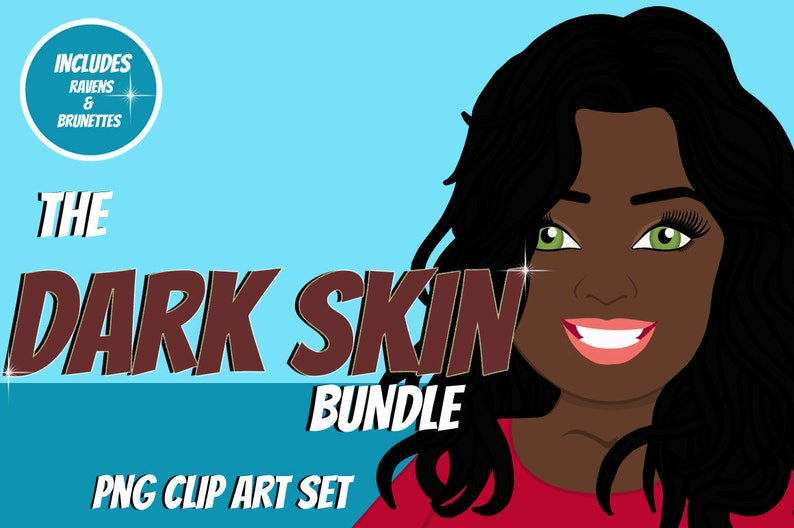 Dark Skin Woman Clip Art Bundle  Character Design Avatar  image 1