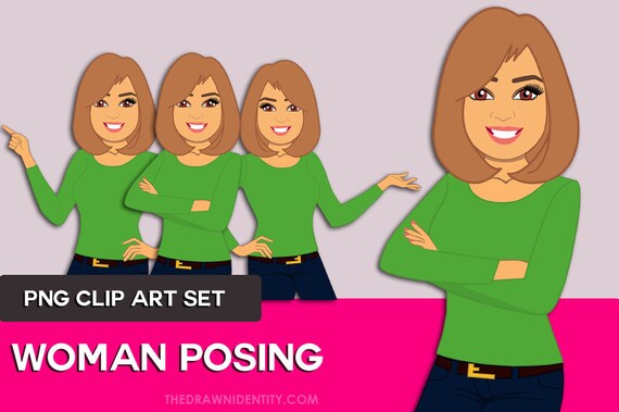 woman clip art character design illustration avatar woman etsy