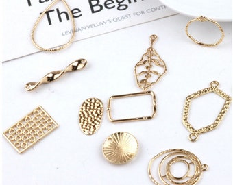 10pcs Gold Geometric Pendant Charm Earring Charms Unique Pendants Link Charm Jewelry Supplies (DJ_P_059)