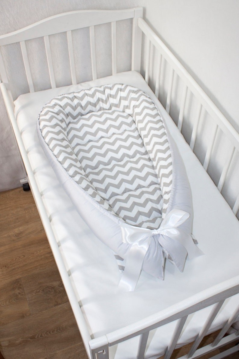 White Baby Bed With Gray Chevron Gray Baby Nest Bed Gray Etsy