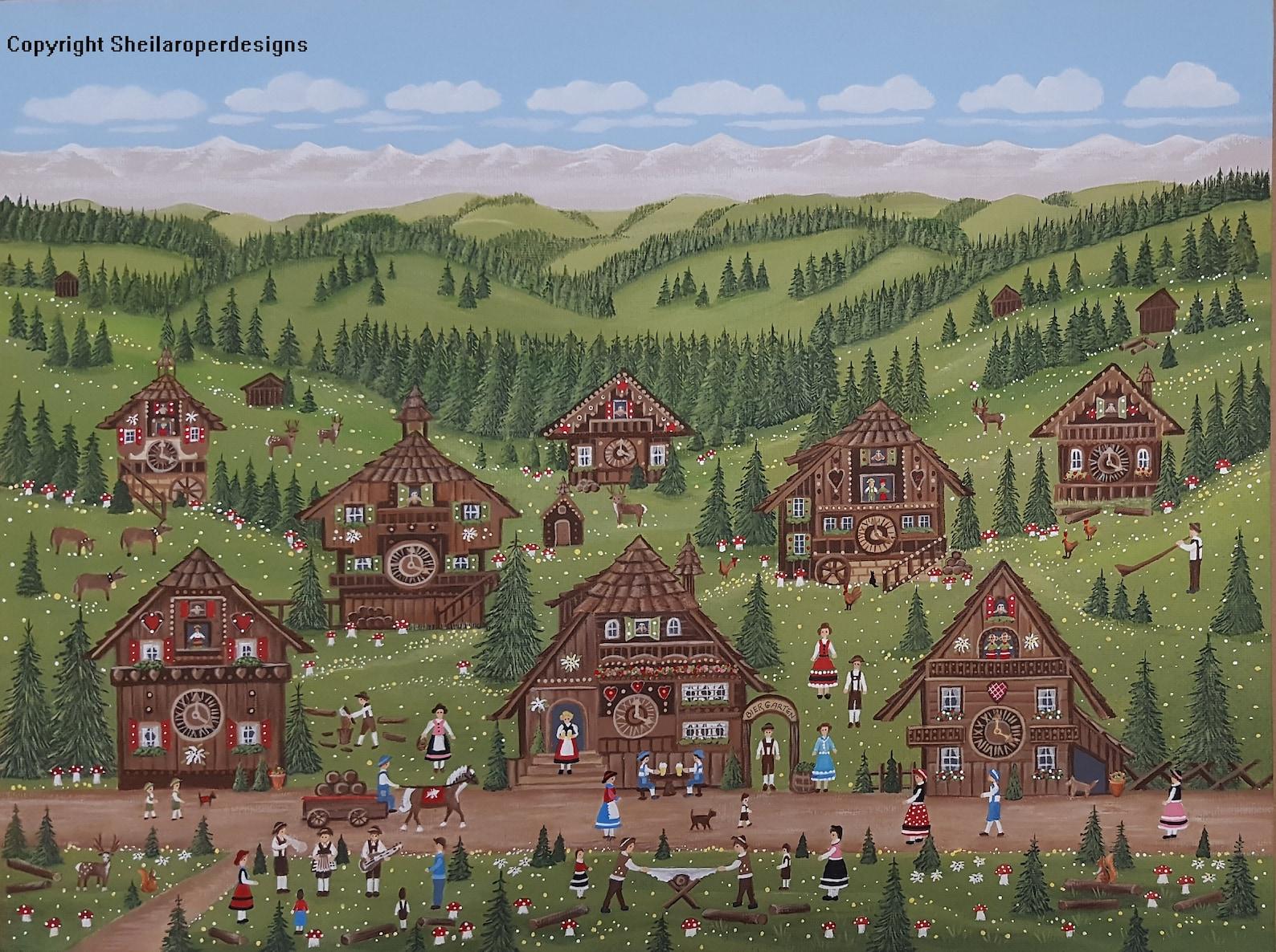 Print: 'The Cuckoo Clock Village' by Sheila Roper