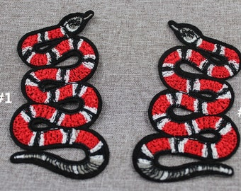 d273f79af30b24 Gucci Coral Snake Patch Gucci Iron On Patch 3.3   x 1.6   Gucci Snake Embroidery  Patch Gucci Style Top Quality Mirror Snake Patch  PC08
