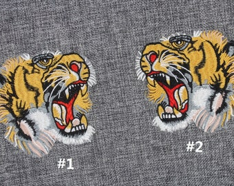 3503a16c10dc8f Gucci Tiger Patch Gucci Iron On Patch 4   x 3.7   Gucci Tiger Embroidery  Patch Gucci Style Top Quality Mirror Tiger Head Patch  PC13