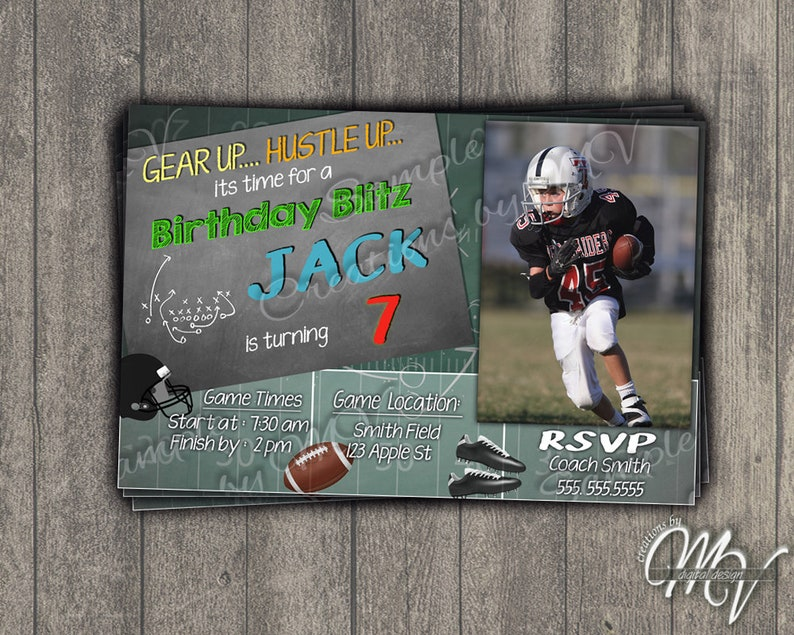 Football Themed Birthday Party Invitation Customize With A