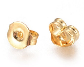 Closures EDELSTAHL Gold Colors Butterfly 4.5 x 5 mm / Stopper for studs / 30/ 50/ 100/ 200x Pack size