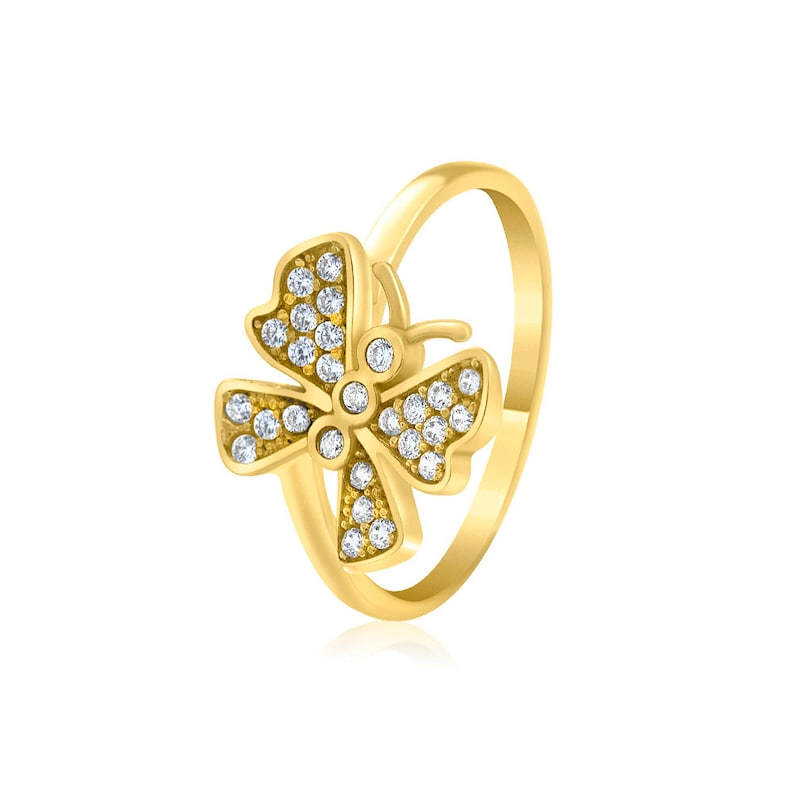 Butterfly Gold Ring  with Sparkly Gemstones