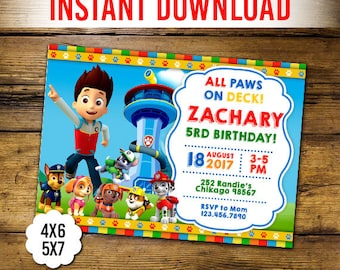 Paw Patrol Invitation Instant Download Etsy