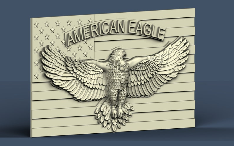 Router Engraver Artcam American Eagle and Flag Carving Machine 3D STL Model Shapeoko X Aspire cnc file Cut3d Vcarve American Army