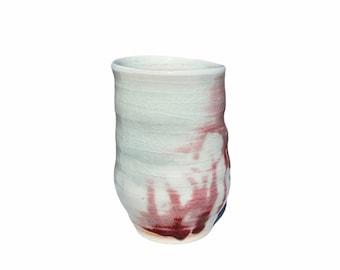 """Vtg Red Candy Cane Design Modern Vase 7"""""""